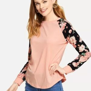 Tops - Pink and black floral sleeve top